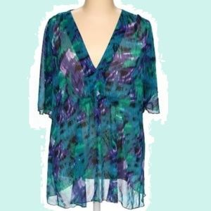 Long Blue Purple Green Loose Sleeve Cover Blouse